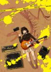 1girl amplifier black_hair boots caution_tape dinosaur guitar hamada_youho headphones headphones_around_neck instrument jacket keep_out legs lying marshall on_back original paint radio red_eyes skeleton skirt solo speaker