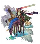 1boy 1girl :d black_hair breasts cape creature fantasy full_body horn horseback_riding long_hair open_mouth original puddle riding saitou_naoki smile straddling unicorn upright_straddle water