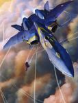 1boy 90s aircraft airplane battle fighter_jet flying ghost ghost_drone guld_goa_bowman highres jet macross macross_plus mecha military military_vehicle official_art omega_one scan science_fiction sharon_apple tenjin_hidetaka variable_fighter x-9 yf-21