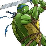 1boy hydro4 katana leonardo lowres male_focus solo sword teenage_mutant_ninja_turtles weapon
