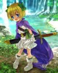 bianca's_daughter blonde_hair blue_eyes blush bow cape child dragon_quest dragon_quest_v dress fantasy hair_bow hair_ribbon mutsuki_(moonknives) open_mouth original ribbon short_hair smile square_enix sword water waterfall weapon