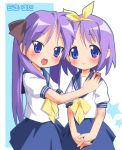 2girls blue_eyes blue_skirt bow bowtie hair_bow hand_on_another's_shoulder hiiragi_kagami hiiragi_tsukasa looking_at_viewer lucky_star multiple_girls own_hands_together pink_hair ramble sailor_collar school_uniform serafuku short_hair simple_background skirt v_arms white_background yellow_bow yellow_bowtie