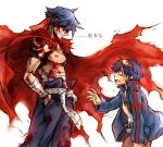 2boys bandage blood blood_on_face blue_hair bodypaint cape core_drill drill goggles goggles_on_head hands_in_pockets kamina male_focus manly manly_tears multiple_boys open_clothes open_shirt sarashi shirt shirtless simon tears tengen_toppa_gurren_lagann translated white_background