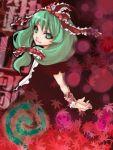 1girl arm_ribbon bk dress female front_ponytail green_eyes green_hair kagiyama_hina leaf long_hair lowres mudo_(saji) red_dress ribbon solo touhou