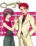 2boys company_connection creator_connection crossover hand_holding hand_in_pocket higurashi_no_naku_koro_ni maebara_keiichi male_focus multiple_boys umiichi_kurage umineko_no_naku_koro_ni ushiromiya_battler