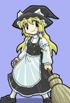 black_eyes blonde_hair braid broom female hat horten kirisame_marisa long_hair lowres touhou witch witch_hat