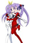 2girls ayanami_rei ayanami_rei_(cosplay) cosplay hiiragi_kagami hiiragi_tsukasa hizuki_yayoi long_hair lucky_star multiple_girls neon_genesis_evangelion plugsuit plugsuit_(cosplay) purple_hair short_hair siblings sisters soryu_asuka_langley_(cosplay) souryuu_asuka_langley transparent_background twins violet_eyes