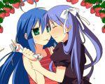 2girls hiiragi_kagami izumi_konata jimeko lowres lucky_star multiple_girls pocky pocky_kiss shared_food yuri