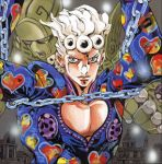 1boy araki_hirohiko chains city cleavage_cutout giorno_giovanna gold_experience jojo_no_kimyou_na_bouken lowres male_focus muscle official_art solo stand_(jojo) vento_aureo white_hair