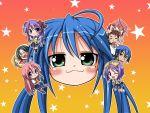 2boys 6+girls :3 age_difference chibi father_and_daughter highres hiiragi_kagami hiiragi_tsukasa izumi_konata izumi_soujirou kogami_akira kuroi_nanako lucky_star multiple_boys multiple_girls narumi_yui pantyhose sawano_akira shiraishi_minoru takara_miyuki wallpaper