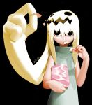 1girl blonde_hair chips food foreshortening hands living_hair mouth_hold potato_chips prehensile_hair solo x6suke