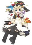 1girl :x alice_margatroid blonde_hair book character_doll chibi female hat kirisame_marisa kusano_houki mushroom patchouli_knowledge shanghai_doll solo touhou witch_hat