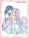 2girls 90s blue_hair dress hoshino_ruri kidou_senkan_nadesico kidou_senkan_nadesico_-_prince_of_darkness lapis_lazuli long_hair misuzu_(artist) misuzu_(bellin) multiple_girls purple_hair yellow_eyes