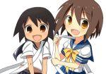 fang jimeko kusakabe_misao lookalikes lowres lucky_star sayonara_zetsubou_sensei school_uniform sekiutsu_maria_tarou serafuku