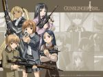 00s 5girls angelica assault_rifle blonde_hair bob_cut bullpup claes dragunov_svd gun gunslinger_girl h&k_mp5k heckler_&_koch henrietta multiple_girls rico rifle shotgun sniper_rifle submachine_gun suppressor triela weapon