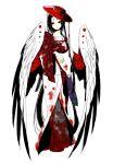 black_eyes black_hair blood hat japanese_clothes original todoroki_sora wings youkai