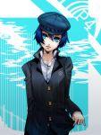 androgynous blue_eyes blue_hair cabbie_hat hat jacket kanmi persona persona_4 reverse_trap shirogane_naoto short_hair solo