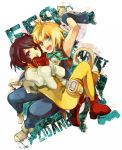 1girl ahoge arm_up armpits blonde_hair bodysuit boots brown_eyes brown_hair character_name covering_mouth final_fantasy final_fantasy_ix garnet_til_alexandros_xvii gloves green_eyes hand_on_back neck_ribbon open_mouth puffy_sleeves ribbon rouki_isago short_hair sleeveless tail text thigh_strap title_drop vest wrist_cuffs zidane_tribal