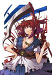 cleavage coin highres onozuka_komachi red_hair redhead scythe touhou twintails wink