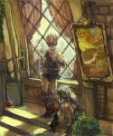 blank cat cinna final_fantasy final_fantasy_ix marcus multiple_boys ruby_(ff9) sumi_(nd60) window wine_glass zidane_tribal
