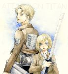 2girls 3dmg blonde_hair blue_eyes christa_renz highres jacket multiple_girls nanaba nib_pen_(medium) ponytail rakuko reverse_trap shingeki_no_kyojin short_hair sword traditional_media watercolor_(medium) weapon