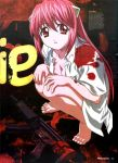 00s 1girl barefoot blood breasts cleavage elfen_lied feet gun h&k_mp5 h&k_mp5k heckler_&_koch highres horns kaede_(character) long_hair lucy medium_breasts newtype nyuu open_clothes open_mouth open_shirt pink_hair red_eyes rifle scan shirt solo squatting submachine_gun very_long_hair weapon