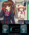 1boy 2girls :d ^_^ ^o^ against_wall black_skirt blazer blush bow bowtie closed_eyes doughnut food hiding indoors jacket kamikita_komari key_(company) konami little_busters! long_sleeves metal_gear_(series) metal_gear_solid multiple_girls mutsuki_(moonknives) natsume_kyousuke natsume_rin open_mouth parody pink_bow pink_bowtie pleated_skirt red_eyes sailor_collar school_uniform serafuku skirt smile
