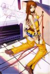 00s 1girl ass ass_grab bakuretsu_tenshi belt blue_eyes chaps choker hakua_ugetsu hand_on_ass highres kneeling long_hair looking_back meg meg_(bakuretsu_tenshi) miniskirt orange_hair scan skirt solo thigh-highs