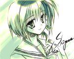 1girl green lowres monochrome rei_(artist) rei_(rei's_room) shigure_asa shuffle! solo