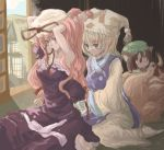 3girls animal_ears barefoot blonde_hair blush cat_ears cat_tail chen female hair_ribbon hairdressing hat long_sleeves multiple_girls multiple_tails nanami_sano pillow_hat ribbon tabard tail touhou wide_sleeves yakumo_ran yakumo_yukari