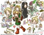 1boy 2girls bird blonde_hair blue_eyes cheese chibi chicken cucco earrings fairy imp jewelry link long_hair midna multiple_girls navi nintendo pointy_ears princess_zelda the_legend_of_zelda the_legend_of_zelda:_twilight_princess triforce wolf