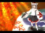 1girl autumn_leaves female geta hat inubashiri_momiji leaf side_b solo sword tengu-geta tokin_hat touhou weapon