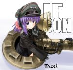 1girl :d artist_name badge bangs blue_eyes blush bow cowboy_shot epaulettes excel_(gewalt) flat_chest from_side gloves ground_vehicle hair_bow hat headphones headset index_finger_raised jacket long_sleeves looking_to_the_side military military_vehicle motor_vehicle nazi open_mouth original peaked_cap ponytail purple_hair shadow short_hair short_ponytail side_slit sidelocks signature simple_background skirt skull_and_crossbones sleeves_past_wrists smile solo tank vehicle white_background world_war_ii