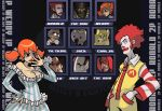 1girl 6+boys afro arby's breasts burger_king carl's_jr. character_select colonel_sanders domino's_pizza douglas_harvey dress epic fake_screenshot fast_food fighting_game glasses jack_box jack_in_the_box kfc little_caesar little_caesars mcdonald's multiple_boys oven_mit_(arby's) parody ronald_mcdonald the_king the_noid wendy's wendy_(wendy's)