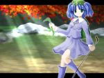 1girl autumn blue_dress blue_eyes blue_hair dress female holding kawashiro_nitori letterboxed light_rays long_sleeves looking_at_viewer outdoors pocket short_hair side_b solo stick thigh-highs touhou two_side_up zettai_ryouiki