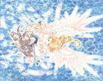 2girls 90s aa_megami-sama angel belldandy blonde_hair blue blue_background bracelet brown_hair earrings facial_mark feathers fingerless_gloves forehead_mark fujishima_kousuke gloves goddess highres holy_bell jewelry long_hair multiple_girls water wings