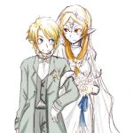 1boy 1girl blue_skin blush bouquet choker dress flower formal front_ponytail good_end happy height_difference link lowres midna midna_(true) nintendo orange_hair pointy_ears red_eyes smile spoilers suit the_legend_of_zelda the_legend_of_zelda:_twilight_princess wedding wedding_dress