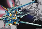 90s beam_rifle cannon energy_gun explosion gun gundam katoki_hajime mecha no_humans official_art shield space v2_gundam victory_gundam weapon