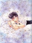 1boy 1girl 90s bishoujo_senshi_sailor_moon black_hair bracelet chiba_mamoru closed_eyes commentary couple double_bun dress dress_shirt endymion hand_on_another's_face hetero holding hug jewelry long_hair lying necktie off_shoulder official_art parted_lips princess_serenity queen_serenity ring scan scan_artifacts shirt strap_slip takeuchi_naoko tsukino_usagi twintails wavy_hair white_dress white_hair