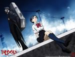 black_hair blood+ cello haji highres instrument instrument_case otonashi_saya red_eyes school_uniform serafuku short_hair sky wall wallpaper