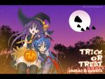 2girls :3 bat_print capcom character_name cosplay eunos fang halloween hat hiiragi_kagami izumi_konata jack-o'-lantern lilith_aensland lilith_aensland_(cosplay) lucky_star moon multiple_girls night night_sky pantyhose print_legwear pumpkin sky thigh-highs trick_or_treat vampire_(game) watermark web_address witch_hat yuri