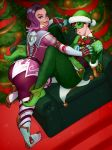 2girls alternate_costume ass breast_grab christmas christmas_tree couch goggles grabbing hat highres jingle_tracer kyle_(kairunoburogu) looking_at_viewer mistletoe multiple_girls overwatch peppermint_sombra santa_hat sombra_(overwatch) tracer_(overwatch) yuri