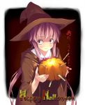 1girl :3 boxcutter gasai_yuno halloween happy_halloween hat kantoku mirai_nikki pumpkin solo witch_hat yandere