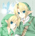1boy blonde_hair blue_eyes fairy link male_focus navi nintendo pointy_ears the_legend_of_zelda the_legend_of_zelda:_ocarina_of_time time_paradox young_link younger