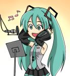 animated animated_gif hands_on_headphones hatsune_miku headphones microphone microphone_stand music radio_booth singing sugiyama_shinnosuke twintails vocaloid
