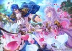 1boy 1girl blue_hair cape circlet company_connection copyright_name detached_sleeves diadora_(fire_emblem) dress fire_emblem fire_emblem:_seisen_no_keifu fire_emblem_cipher horse horseback_riding jewelry lavender_hair leaf long_hair official_art outdoors petals purple_hair riding short_hair sigurd_(fire_emblem) violet_eyes wavy_hair