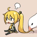 1girl akita_neru bird blonde_hair chan_co chibi pigeon ponytail solo thigh-highs vocaloid