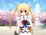 1girl blonde_hair blue_eyes cosplay da_capo da_capo_i da_capo_ii lyrical_nanoha mahou_shoujo_lyrical_nanoha seiyuu_connection solo takamachi_nanoha takamachi_nanoha_(cosplay) tamura_yukari yoshino_sakura