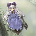 1girl 3.1-tan blush cat dd_(ijigendd) dos dos_cat hair_ribbon long_hair os-tan ribbon road silver_hair solo walking