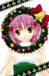 1girl bell blush christmas dress ear_studs earrings hair_ornament hinamori_amu jewelry official_art pink_hair ribbon scan short_hair shugo_chara! solo star stud_earrings